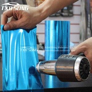 Image 3 - Высококачественная зеркальная виниловая пленка без пузырьков воздуха, синего цвета, наклейка, лист, эмблема, чехол для кузова автомобиля, велосипеда