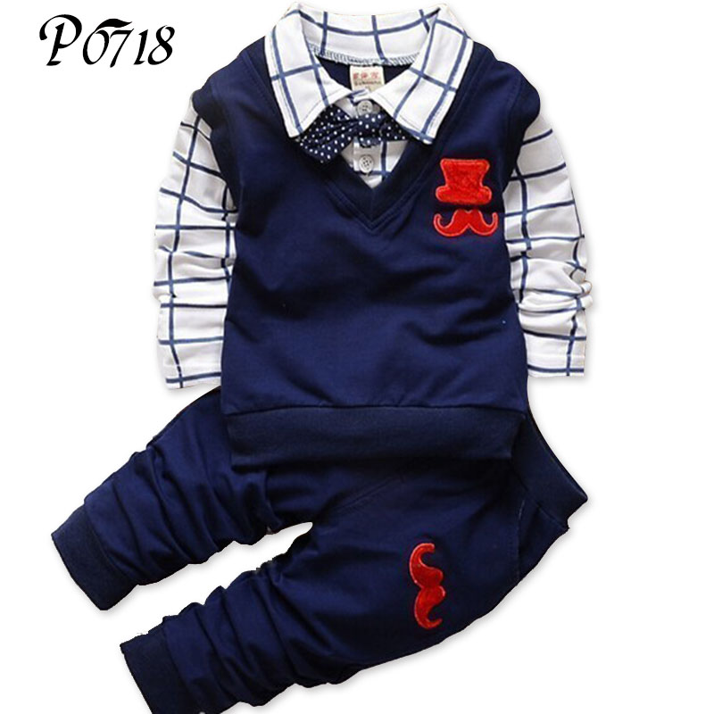 Fashion New Spring Autumn Baby Boy Clothes Set Vest Tie Plaid Formal Blouse Shirt + Pants Suit Kids Boys Clothing Gentleman Set 2016 fashion kids boys clothing set spring autumn children gentleman set long sleeve plaid shirts t shirt jeans baby boy clothes