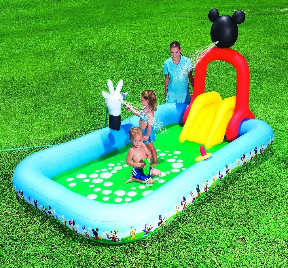 91016 Bestway 320x175x157cm(126x69x62 Inch) Play Pool with Interactive Push-button Sprayer,Removable Slide,Inflatabtable Floor надувной бассейн bestway микки маус 91016