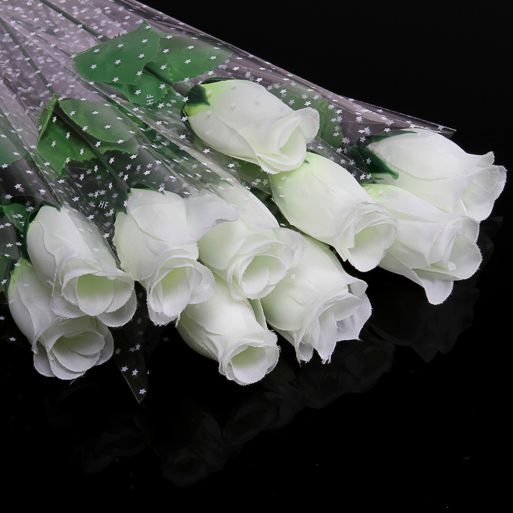 11pcs lot fresh white rose artificial flowers real touch for Real plants for home decor