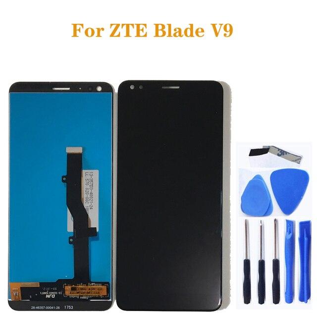 Için zte Blade V9 LCD cam ekran dokunmatik ekran digitizer değiştirme için zte BLADE V9 LCD ekran cep telefonu aksesuarları + araçları