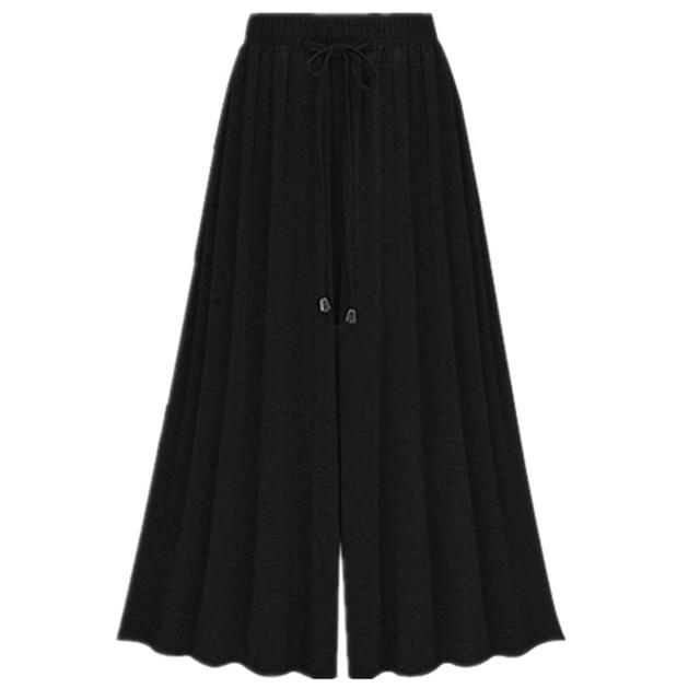 7e01e4ba8a586 Summer High Waist Wide Leg Pants Female Ankel Length palazzo Pants Large  Size Loose Cotton Broad leg Trousers 6XL Capris Women