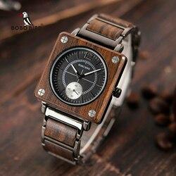 Bobo pássaro topo relógios de madeira luxo relógio de pulso de quartzo relógio novo design melhor presente relogio masculino na caixa de presente L-R14