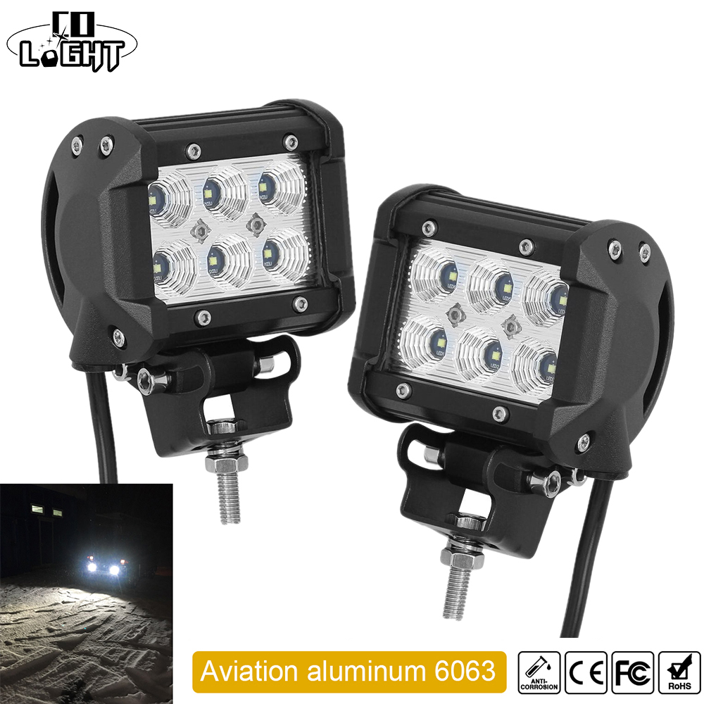 CO LIGHT 1 Pair Led Drl 18W 4 '' Spot Flood Led Arbetsbelysning 12V 24V för Offroad Lada Niva Uaz Tractor Audi Mazda Jeep Trucks
