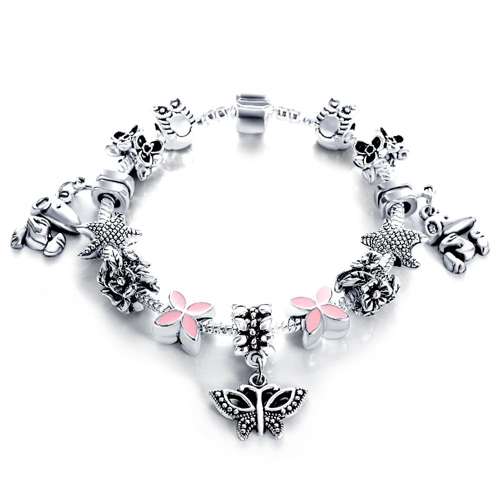 European Authentic Silver Antique Bracelets Bangles for Women Bead Fit Charm Bracelets Manchette Pulseira Jewelry Gift