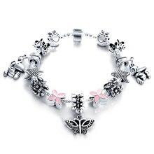 European Authentic Silver Antique Bracelets & Bangles for Women Bead Fit Charm Bracelets Manchette Pulseira Jewelry Gift