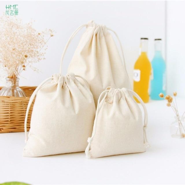 1pc 4 Sizes Pure White Handmade Cotton Linen Bag Storage Coffee Beans Tea Gift Bags