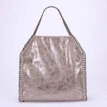 Luxus Marke Frauen 3 Ketten Tasche Falabellas Design 36*40 Große Handtasche Shopping Handtasche Qualität PVC Falttasche 4 farben Bolsos