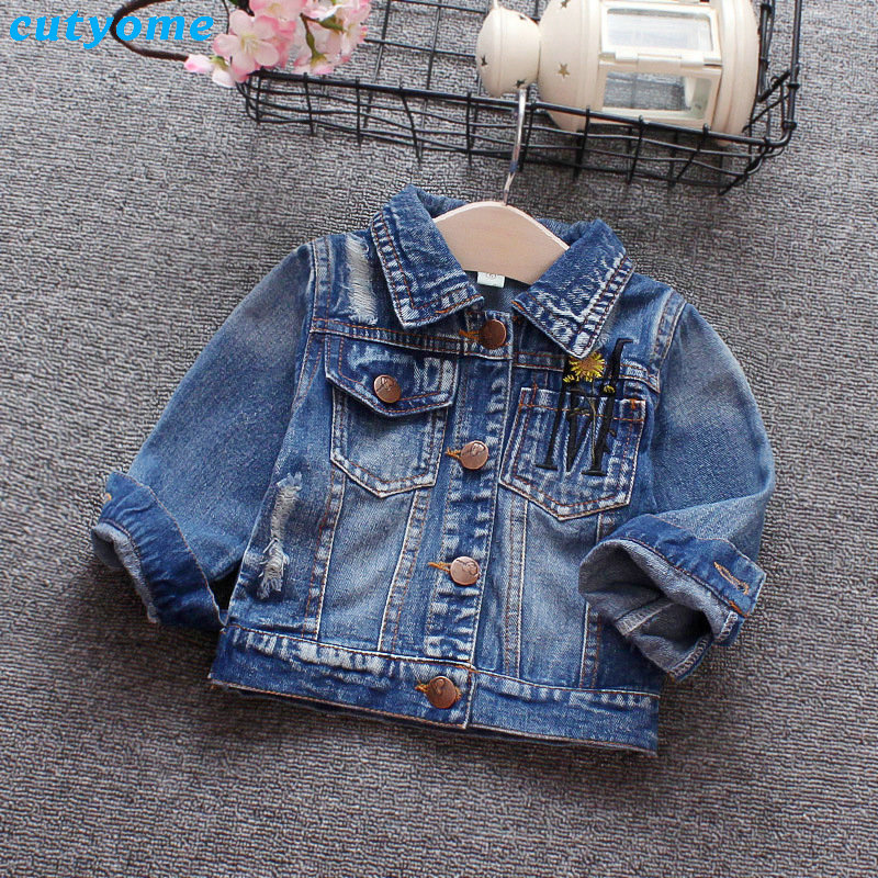 Infant Baby Girls Jeans Coat Embroidery Floral Turn-down Collar Ripped Outerwear Toddler Newborn Girl Denim Clothing Jacket