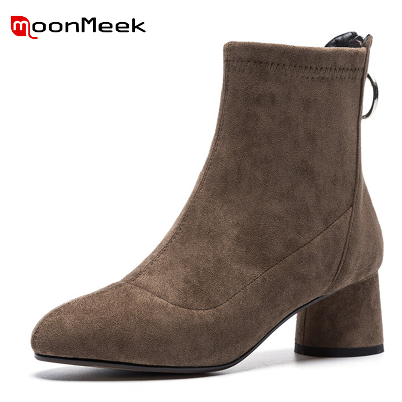 MoonMeek new arrive 2018 woman brand boots high heel autumn winter stretch fabric boots ladies elegant round toe ankle bootsMoonMeek new arrive 2018 woman brand boots high heel autumn winter stretch fabric boots ladies elegant round toe ankle boots