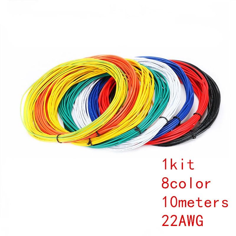 1pin Flexible Litze 10 meter UL1007 Draht 22 Gauge AWG 8 Farben Kit ...