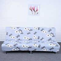Flower Printed Stretch Sectional No Armrests Sofa Covers Polyester Fabric Soft Case Foldable Slipcovers Elastic Couch Bed Cover