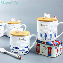 Creative Cat and Fish Mugs Cartoon Ceramic Cup with Spoon Lids Breakfast Milk Glass Gifts