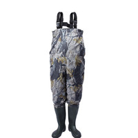 Eu38 47 Outdoor Camouflage Waterproof Anti wear Farming Overalls Trousers With Non slip Boots Waders Breathable Fly Wading Pants