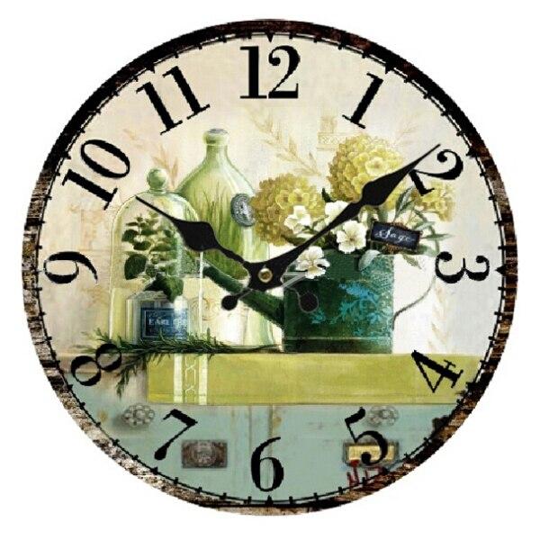 Best Vintage Antique Style 34cm Wall Clock Home Bedroom Retro Kitchen Quartz Pattern Flower