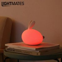 Creative Colorful LED Charging Night Light Bedside Lamp Table Lamp Portable Cute Rabbit Bedroom Lights Push