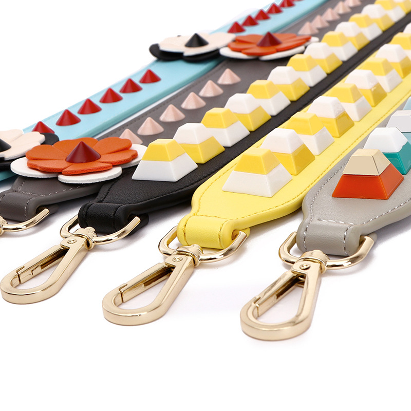 58cm Fashion Rivet Summer Women Bag Strap PU Shoulder Straps For Handbags Casual Replacement Straps