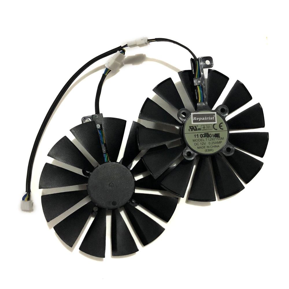 95 MM (100 MM) 4Pin T129215SM Cooler Fan Para ASUS ROG POSEIDON GTX1080TI STRIX RX 570 470 580 GTX GPU 1050Ti Refrigeração da Placa De Vídeo