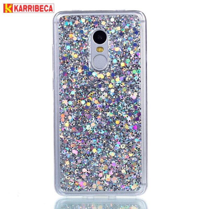 Karribeca glitter bling couverture Pour Xiaomi redmi note 4 cas hoesje mignon coloré brillant fundas redmi note 4 coque etui kryt tok