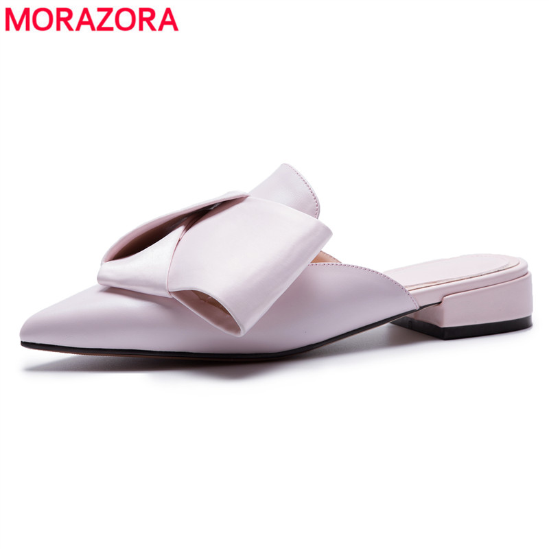 MORAZORA Large size 34-43 New 2018 fashion genuine leather women sandals pointed toe womens mules summer lady casual dress shoes 2017 new summer fashion women casual shoes genuine leather lady leisure sandals gladiator all match ankle peep toe flowers
