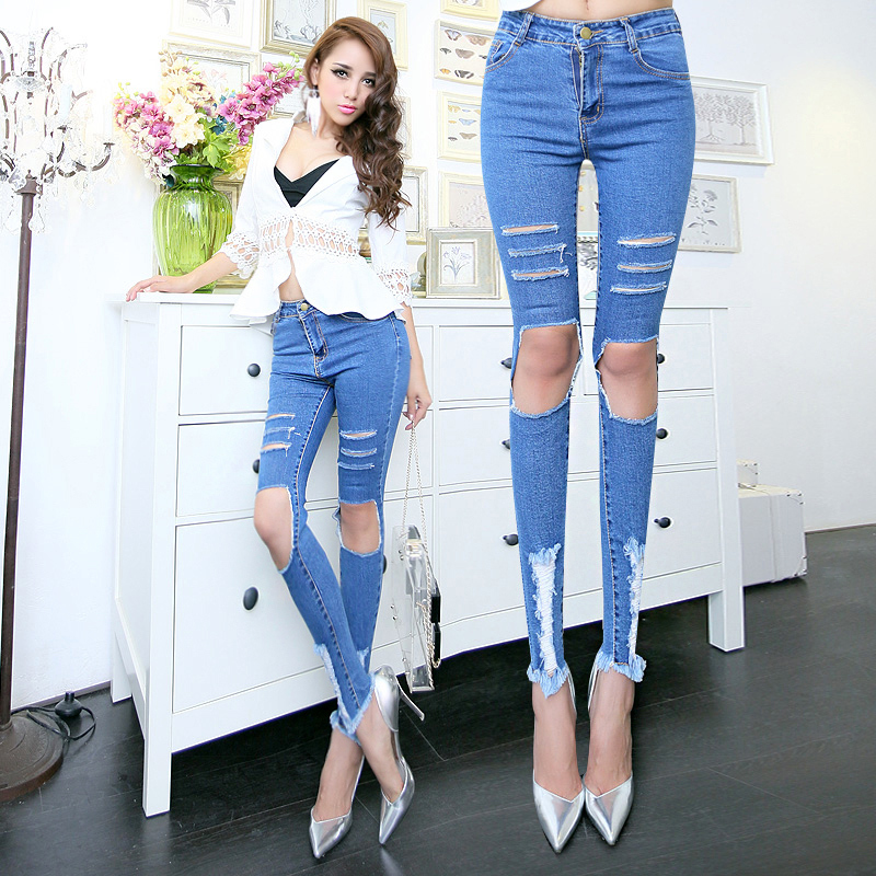 Aliexpress.com : Buy 2015 Horizontal Hole Jeans Ripped Boyfriend ...