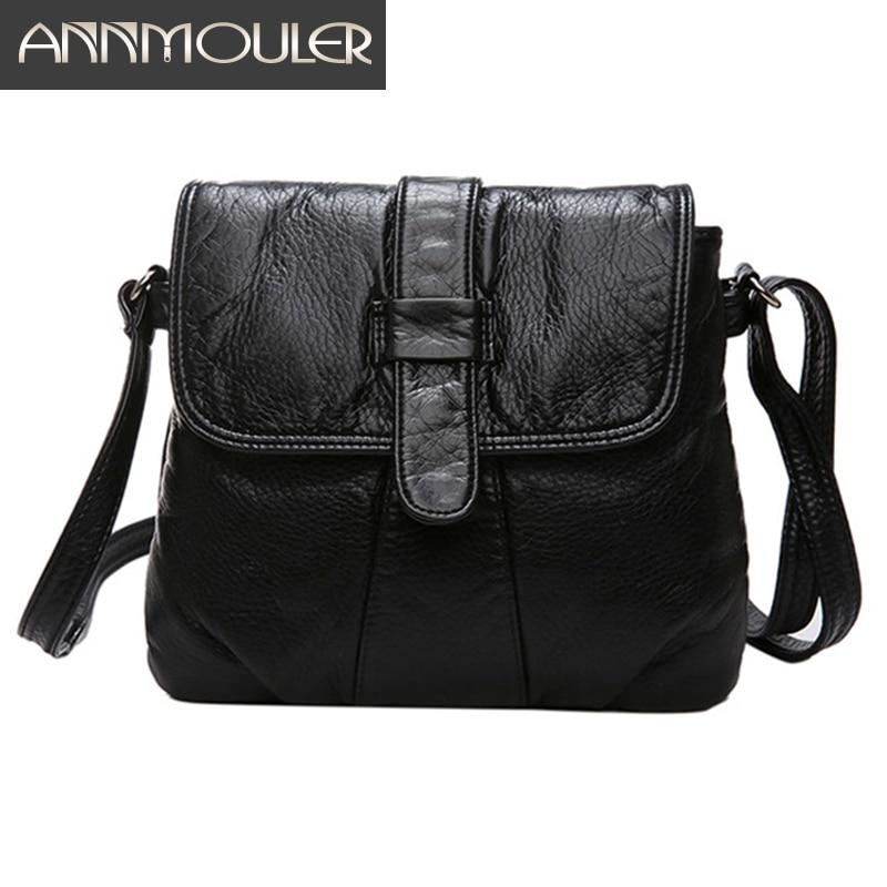 Annmouler Fashion Women Crossbody Bag Black Soft Washed Leather Shoulder Bag Small Size Messenger Bag Quality Lady Purse