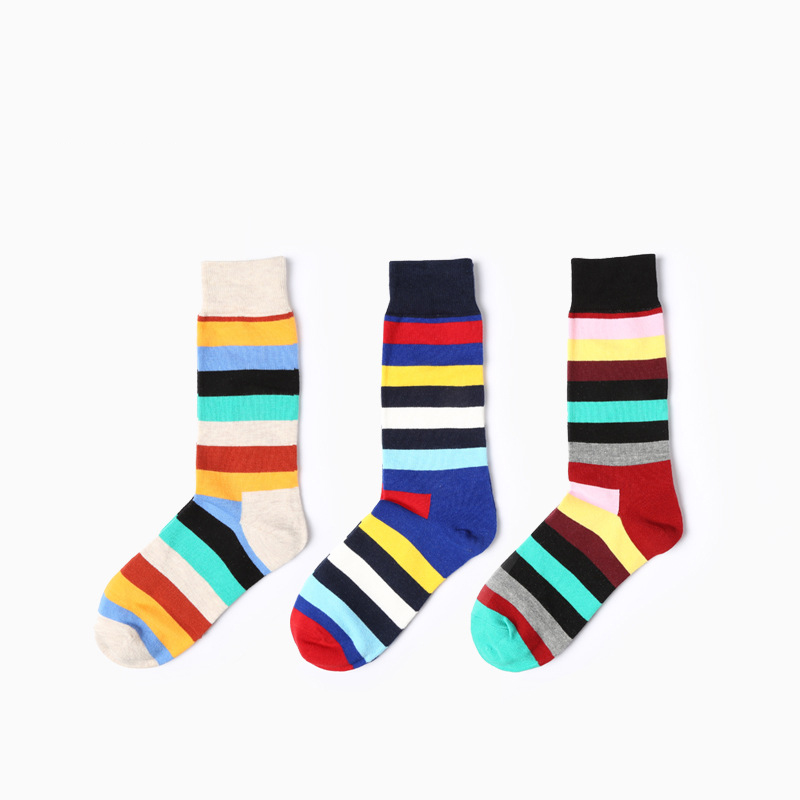 2017 new Color striped socks retro style mens pure cotton colorful socks men socks size 39-45