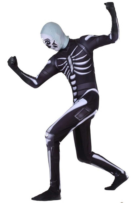 Adult Skull Trooper Cosplay Costume Jumpsuit Halloween Scary Costume Men's Zombie Skeleton Terror Clothing