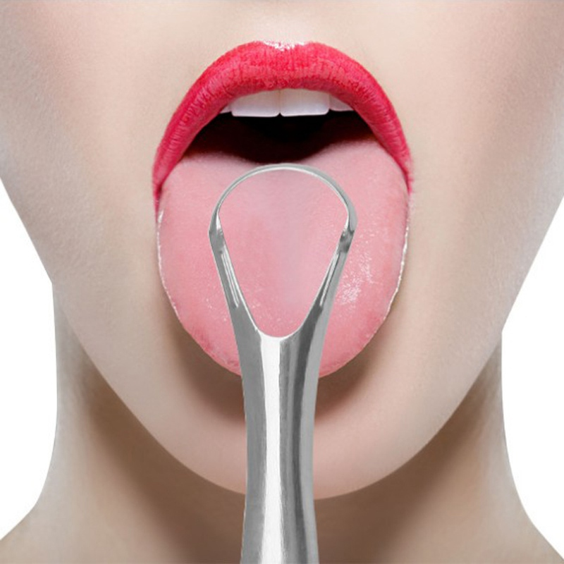 New Stainless Steel Tongue Scraper Remove Oral Bacteria Long Handle Hollow Tongue Scraper