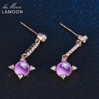 LAMOON Cross star 2.2ct Natrual Amethyst 925 sterling-silver-jewelry  Jewelry Set Earring Ring S925 For Women V009-4 3