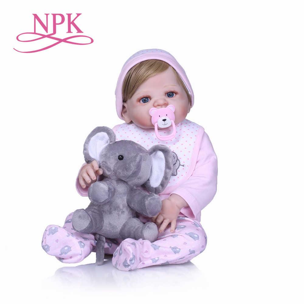 NPK Boneca Reborn 22 дюймов Полностью силиконовые виниловые куклы 55 см Reborn Baby Doll новорожденный реалистичный Bebes Reborn куклы Подарки для девочек
