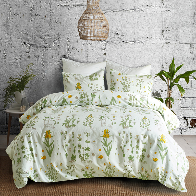 Bedding-Sets Pillowcase Duvet-Cover-Sets Flowers Bedroom-Decor Plants Floral-Print Double-Queen-King title=