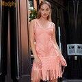Perlas de lujo Borlas Embellecido Celebrity Vestido de Noche Vestidos de Fiesta 2016 Nuevas Mujeres Negro Vestido Del Vendaje Vestido HL720