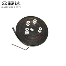 3PCS/lot GT2 20Teeth Pulley Synchronous Wheel and 5m GT2-6mm Timing Belt and 1 Allen Key for Reprap 3D printer DIY Kit
