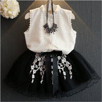 Kids Baby Girls Clothing Sets New Arrival Baby Girl Clothing Lace Shirt Top Short Skirt 2