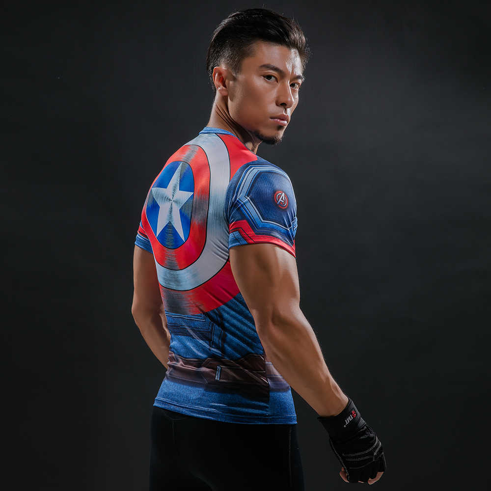 Kaptan Amerika 3D baskılı tişört erkek Sıkıştırma Gömlek Süper Kahraman marvel çizgi roman Komik Spor Giyim Egzersiz Tops & Tees