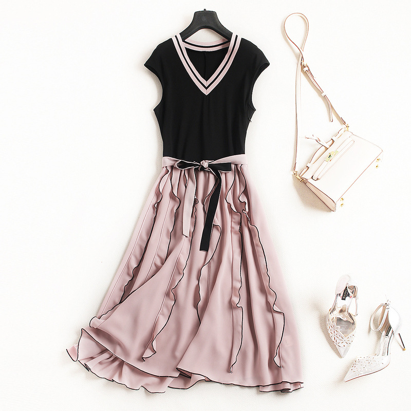 For Girls Spring-Summer High-End Women's Knitwear-Chiffon High Waist Dress Euro-American Graceful Dress with V-Collar and Belt graceful butterfly pattern high waist dress