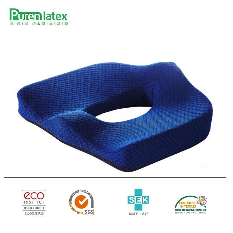 PurenLatex 45*40 Orthopédiques Coccyx Chaise En Mousse à Mémoire De Voiture Siège oreiller coussin Pad Fauteuil Roulant Tapis Pour Post-partum Hémorroïdes Traiter