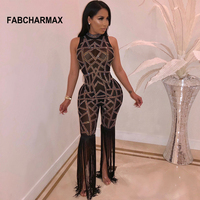 crystal fringe jumpsuit night club women rompers sleeveless sexy mesh rhinestone black jumpsuits womens overalls chic club wear