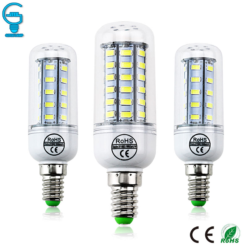 <font><b>E14</b></font> <font><b>LED</b></font> <font><b>Bulb</b></font> <font><b>220V</b></font> 110V <font><b>LED</b></font> Lamp 5730 SMD <font><b>LED</b></font> Corn <font><b>Bulb</b></font> Light Chandelier Candle Lighting Warm Cold White For Home Decoration image