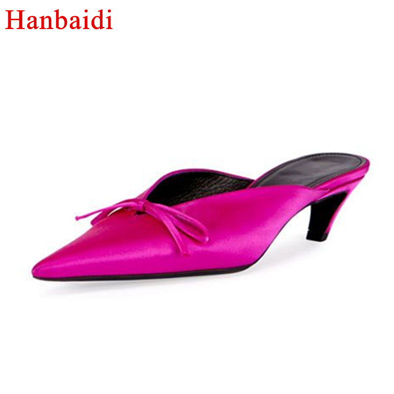 Hanbaidi Fashion Stain Women Spring Slippers Sexy Slik High Heels Pointed Toe Outdoor Shoes Runway Style Women Pumps Party Shoes hanbaidi spring retro chic women slippers silk velvet embroider shoes high heels shoes women pointed toe lazy fur slippers shoes