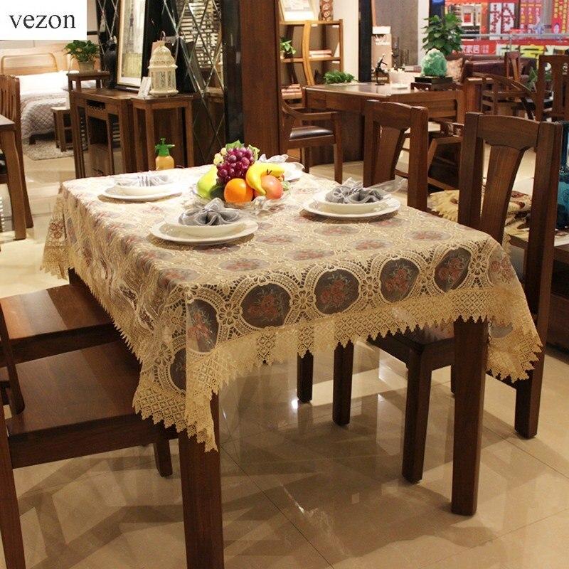 vezon 새로운 뜨거운 우아한 고품질 폴리 에스테 자수 레이스 식탁보 수 놓은 Organza 레이스 테이블 피복 덮개 오버레이