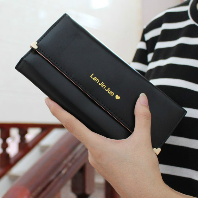 2016 Hot Fashion Women Wallets bag solid PU Leather Long Wallet high quality Purse Delicate black Lady Cash phone card Purse ! 2016 fashion women wallets handbag solid pu leather long bag high quality famous clutch lady brand cash phone card coin purse