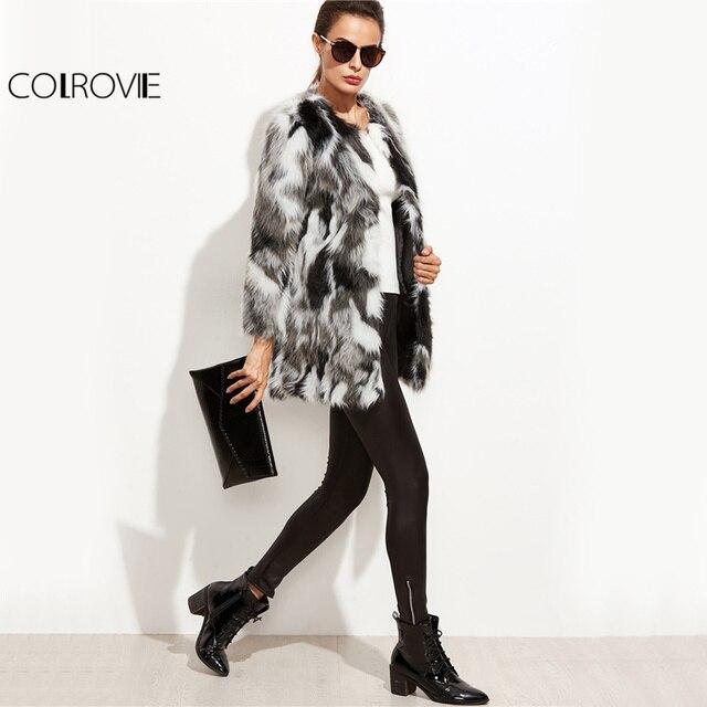 COLROVIE 가짜 모피 퍼지 코트 여성 컬러 블록 오픈 전면 우아한 가을 코트 2017 패션 겨울 긴 소매 OL 작업 코트
