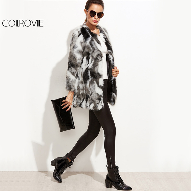 COLROVIE Faux Fur Fuzzy Coat Women Color Block Open Front Elegant Autumn Coats 2017 Fashion Winter Long Sleeve OL Work Coat