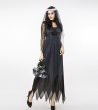 Luxurious Club Costumes Accessories Black Lace Tulle Bridal Dress Female Models Witch Halloween Cosplay Clothes Sets Wholesale