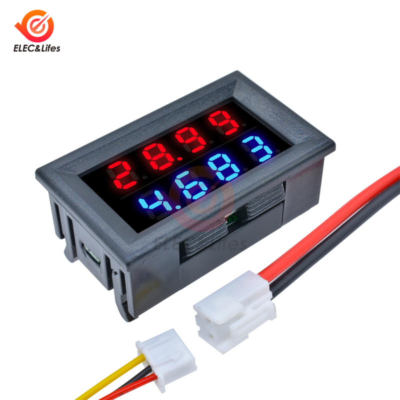 DC 100V 200V 10A Dual LED Digital Voltmeter Ammeter Detector 4 Bit 5 Wires Voltage Current Meter Regulator 0.28inch Display
