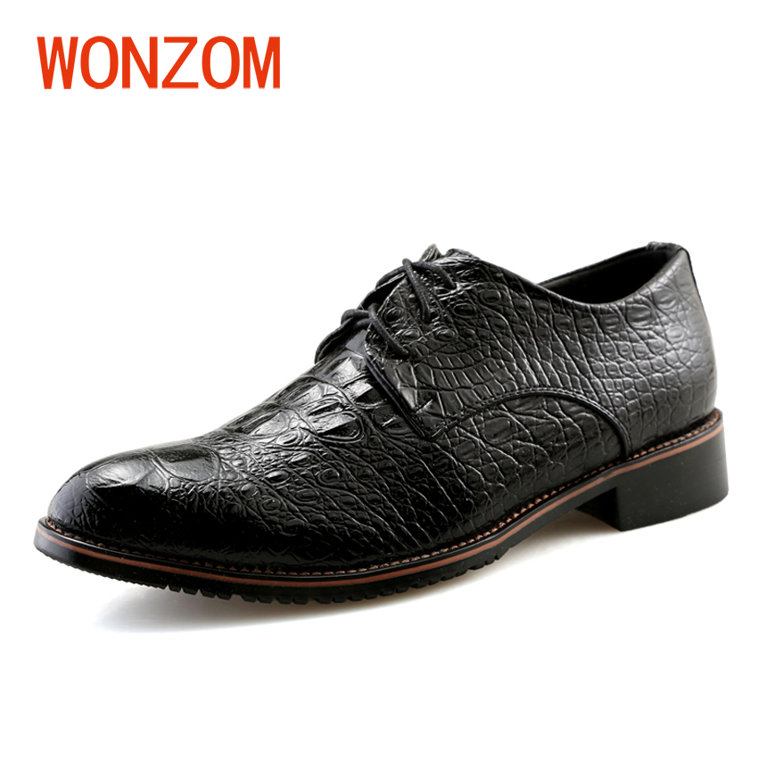 WONZOM New Arrival Brand High Quality Hand-made Leather Men's Shoes 2018 Fashion Crocodile Pattern Casual Flats Oxfords For Male asus m4a78 vm desktop motherboard 780g socket am2 ddr2 sata2 usb2 0 uatx second hand high quality