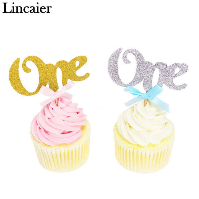 Lincaier 12Pcs First Birthday Cake Cupcake Toppers 1st Years Party