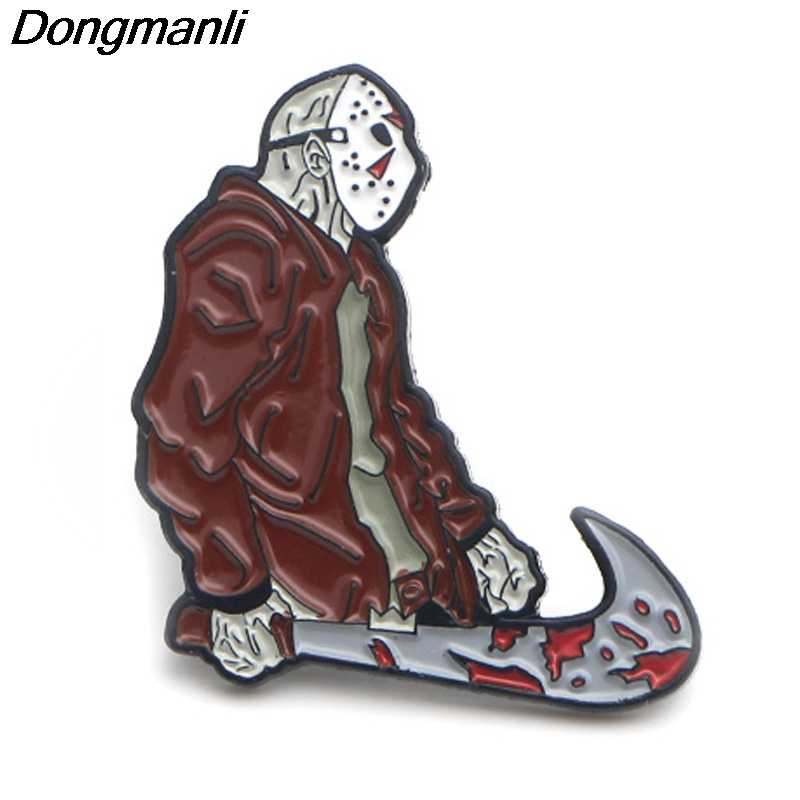 P3753 Dongmanli Busana Lucu Friday The 13th Logam Enamel Jason Voorhees Bros Lencana Kerah Kerah Perhiasan